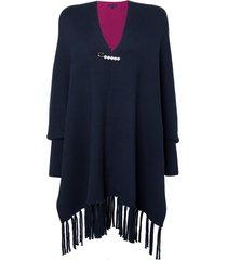 poncho dudalina tricot feminino (preto, un)