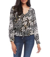 ruffled tie-front v-neck button top