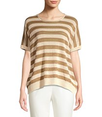 peserico women's striped knit linen-blend sweater - taupe - size 44 (8)
