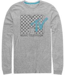 fifth sun men's distressed retro checkered logo long sleeve t- shirt