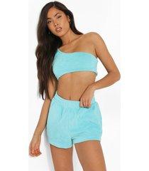 woman velours crop top en shorts set, bright blue