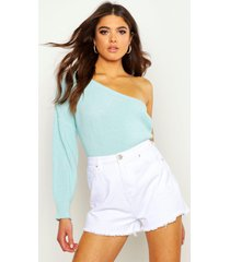 one shoulder knitted sweater, mint