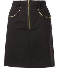 versace jeans couture stud trim skirt - black