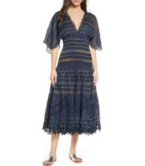 women's hemant & nandita smocked stripe cover-up dress, size x-small - blue