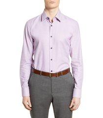 men's boss slim fit geometric dress shirt, size 17 - pink