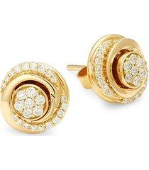 hueb women's 18k yellow gold & 0.34 tcw diamond stud earrings