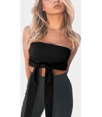off shoulder tie-front crop top in black