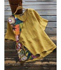 girocollo patchwork stampa vintage plus camicetta taglia con cintura