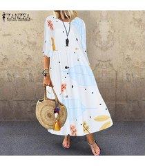 zanzea mujeres vintage retro bohemio impreso largo maxi kaftan vestido floral para damas -blanquecino