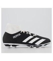 chuteira adidas predator 20.4 s fxg campo preta e branca