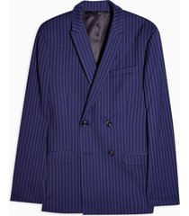 mens blue navy super skinny pinstripe double breasted suit blazer with peak lapels