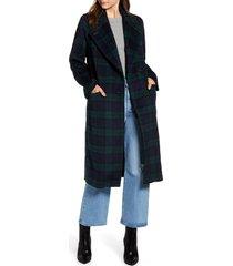 women's avec les filles double face wool blend coat, size large - blue