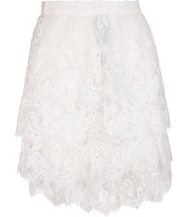 ermanno scervino short skirt with flounces in white lace