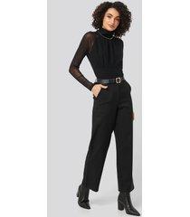 na-kd party straight leg wide pants - black