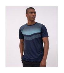 camiseta esportiva manga curta estampada | get over | azul médio | m