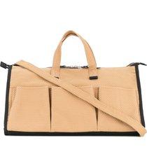 cabas multi-pocket tote bag - brown
