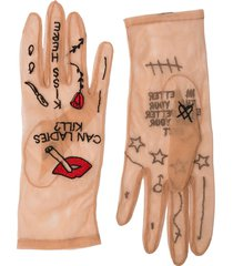 tender and dangerous nude embroidered tulle gloves - neutrals
