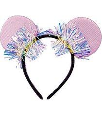 tiara le orelha metalizada lilás