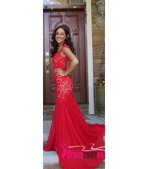 new sexy mermaid backless red lace dress with high leg slit chiffon prom dresses