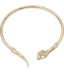 "thalia sodi gold-tone crystal & imitation pearl snake 5"" choker necklace, created for macy's"