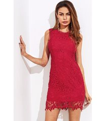 elegant red guipure lace overlay bodycon mini dress sleeveless party club new