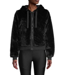 marc new york performance women's hooded faux fur jacket - black - size l