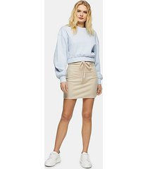 oat fluffy tie waist mini skirt - oatmeal