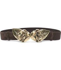 alberta ferretti leaf-plaque suede belt - brown