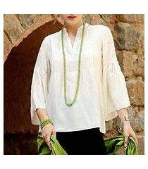 silk tunic, 'serene breeze' (india)
