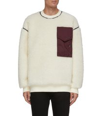 contrast ripstop nylon pocket sweater