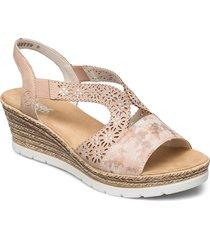 61916-80 sandalette med klack espadrilles rosa rieker