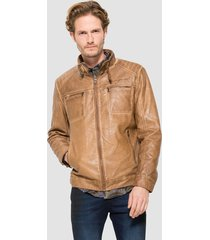 chaqueta desigual marrón - calce regular