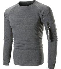 raglan sleeve ribbon pocket fleece sweatshirt