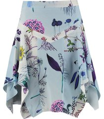 stella mccartney printed silk flared skirt