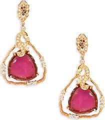 18k yellow gold, tourmaline & diamond dangle earrings