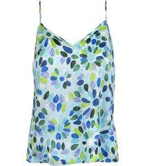 teal blue/multicolour geometric-print silk cami top