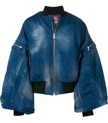 diesel red tag batwing sleeve denim jacket - blue