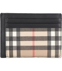 burberry leather and check fabric card holder