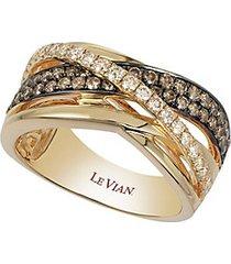 chocolatier® chocolate & vanilla diamonds™ gladiator weave ring in 14k honey gold™