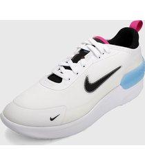 tenis lifestyle blanco-negro-azul-fucsia nike amixa