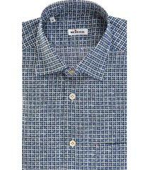 blue/white/black cotton check-print cotton nerano shirt