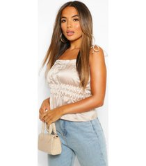 petite ruched waist satin top, champagne