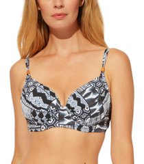 bleu by rod beattie underwire printed d-cup bikini top women's swimsuit