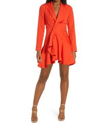 chi chi london wrap front long sleeve cocktail dress, size 12 in coral at nordstrom
