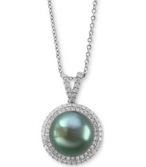 """effy cultured tahitian pearl (10mm) & diamond (3/8 ct. t.w.) 18"""" pendant necklace in 14k white gold"""