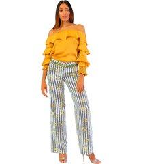 pantalón bota recta amarillo unipunto 4981