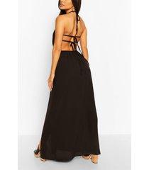 geweven maxi-jurk met halternek en bandjes op de rug, zwart