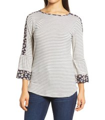 women's loveappella floral stripe flounce sleeve top, size x-small - white