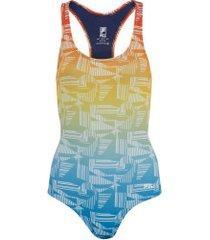 maiô para natação com proteção solar uv fila austrália print - adulto - azul cla/vermelho