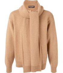 dolce & gabbana scarf-attached jumper - brown